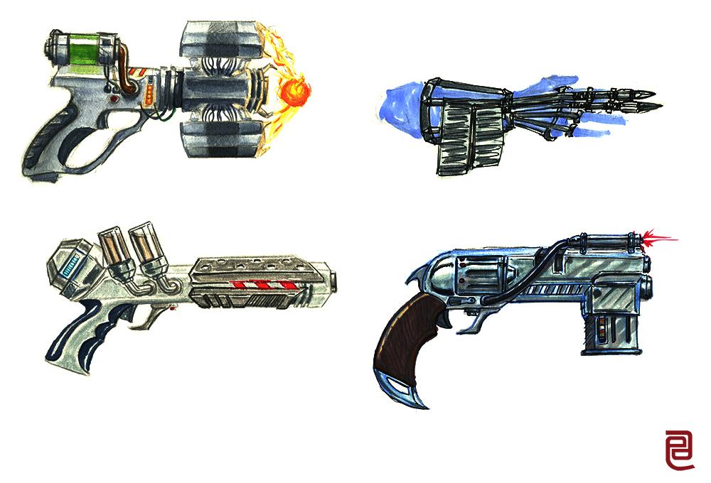 Futuristic Gun Drawings Futuristic Guns Sketches
