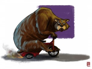 Grumpy Bear on tricycle