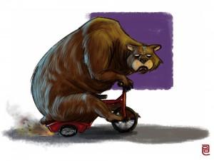 Grumpy Bear on tricycle